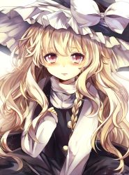 1girl blonde_hair blush braid hat kirisame_marisa long_hair looking_at_viewer pink_eyes revision single_braid solo touhou ukita_uuko very_long_hair witch_hat