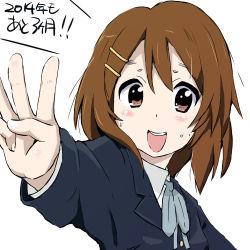 1girl blush_stickers brown_eyes brown_hair hirasawa_yui k-on! maruyo open_mouth school_uniform short_hair translation_request