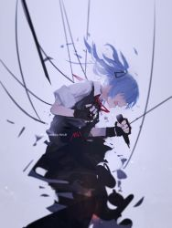 1girl bangs blue_hair dress_shirt fang gloves hair_tie hatsune_miku highres microphone mivit no_eyes open_mouth original shirt simple_background singing skirt sleeves_rolled_up solo vocaloid