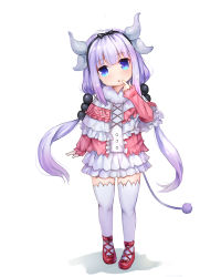 1girl absurdres beads blue_eyes capelet dragon_girl dragon_horns dress finger_to_mouth full_body hair_beads hair_ornament hairband highres horns kanna_kamui kobayashi-san_chi_no_maidragon long_hair open_mouth ribbon shoes silver_hair solo tail thighhighs twintails white_legwear