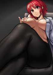 1girl ayakumo black_legwear breasts chair highres horikawa_raiko large_breasts legs_crossed no_pants open_clothes open_shirt pantyhose red_eyes red_hair sitting smile solo thighs touhou