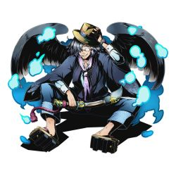 1boy black_wings divine_gate fuji_(divine_gate) full_body geta glasses hair_over_one_eye hat official_art paintbrush sayagata scarf silver_hair sitting smile solo transparent_background ucmm watch wings