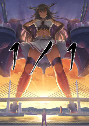 >:( 1boy 1girl admiral_(kantai_collection) antennae black_hair boat bridge brown_eyes cannon cloud convenient_censoring crop_top gauntlets giantess hands_on_hips harbor headgear highres kantai_collection kuro_oolong long_hair looking_at_viewer machinery midriff military military_uniform nagato_(kantai_collection) navel panties pantyshot pantyshot_(standing) scale sky standing sunset thigh_strap underwear uniform upskirt very_long_hair white_panties