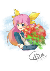 blonde_hair blue_eyes blush bouquet cicci flower hair_ribbon hanasaki_momoko hug long_hair multicolored_hair pink_hair ribbon solo sweater wedding_peach