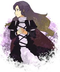 breasts brown_eyes brown_hair dress gradient_hair hijiri_byakuren long_hair multicolored_hair purple_hair suzuki_natsume touhou