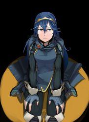 1girl blue_eyes blue_hair cape female fingerless_gloves fire_emblem fire_emblem:_kakusei gloves kneeling long_hair looking_at_viewer lucina polyle sad shoulder_pads solo thighhighs tiara
