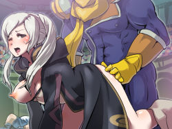 ass_grab blush boris_(noborhys) captain_falcon clothed_sex doggystyle f-zero fire_emblem fire_emblem:_kakusei my_unit_(fire_emblem:_kakusei) one_breast_out one_eye_closed super_smash_bros. white_hair