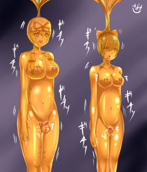 2girls asphyxiation bondage breasts cocoon dildo gag hakurei_reimu large_breasts latex multiple_girls mummification mummy rubber sanamieigetu9 touhou vacbed vaginal_insertion yakumo_yukari