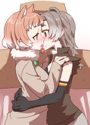 1boy 2girls animal_ears black-tailed_prairie_dog_(kemono_friends) brown_eyes brown_hair cum facial fellatio kemono_friends kiss multiple_girls north_american_beaver_(kemono_friends) penis red_hair sumiyao_(amam) tongue