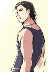 1boy billy_coen blue_eyes brown_hair dog_tags looking_at_viewer lowres male_focus myutsusama resident_evil resident_evil_0 simple_background sleeveless sleeveless_shirt smile solo tank_top upper_body