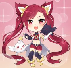 :3 alternate_costume alternate_hair_color chibi elbow_gloves fang fingerless_gloves gloves jinx_(league_of_legends) kuro_(league_of_legends) league_of_legends long_hair magical_girl red_hair shiro_(league_of_legends) shorts solo star_guardian_jinx thighhighs tied_hair twintails very_long_hair