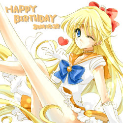 1girl 2014 aino_minako bishoujo_senshi_sailor_moon blonde_hair blown_kiss blue_eyes bow choker dated elbow_gloves embellished_costume gloves hair_bow half_updo happy_birthday heart leg_up long_hair lowres magical_girl one_eye_closed orange_skirt ribbon sailor_collar sailor_venus shirataki_kaiseki skirt solo white_background