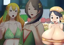 3girls breast_envy breast_expansion breasts gigantic_breasts multiple_girls tears