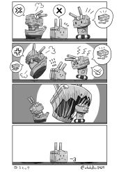 4koma :3 anger_vein bullying comic flying_sweatdrops kadokura_(whokdkr) kantai_collection lifebuoy money monochrome monster no_humans o_o rensouhou-chan rensouhou-kun spoken_anger_vein thought_bubble turret |_|