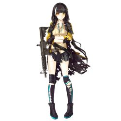 >:( 1girl artist_request assault_rifle black_gloves black_hair black_legwear black_shoes black_skirt blush cartridge closed_mouth collared_shirt crossed_arms earphones eyebrows eyebrows_visible_through_hair fingerless_gloves full_body girls_frontline gloves gun heterochromia holding holding_gun holding_weapon jacket knee_pads long_hair looking_at_viewer multicolored_hair nose official_art orange_eyes personification pleated_skirt rifle ro635 ro635_(girls_frontline) shirt shoes skirt solo standing streaked_hair striped striped_legwear sweater_vest thighhighs torn_clothes torn_jacket torn_thighhighs transparent_background weapon white_hair yellow_eyes yellow_jacket