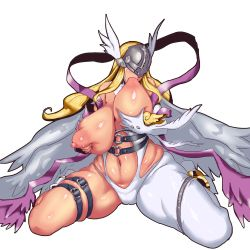 1girl angel angel_wings angewomon areolae artist_request bandai blonde_hair breast_grab breast_sucking breasts digimon female helmet huge_breasts legs long_hair nipples plump self_breast_sucking shiny_skin sitting solo thick_thighs wide_hips