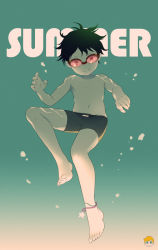 1boy anklet barefoot black_hair english full_body jewelry looking_at_viewer male_focus noeyebrow_(mauve) original shirtless short_hair smile solo summer underwater underwear