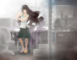1girl baggy_shorts black_hair carrying carrying_bag chair computer desk expressionless eyebrows green_eyes headphones hihei_xiaobai hiyajou_maho indoors long_hair looking_at_viewer mismatched_footwear monitor office pose sandals science_adventure shirt shorts sleeveless solo steins;gate steins;gate_zero table technology text wire