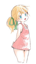 1girl blonde_hair blue_eyes blush bow child dress flat_chest looking_at_viewer nezumi_inu open_mouth pixiv_manga_sample ponytail rockman roll simple_background smile solo white_background