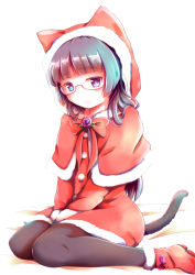 1girl animal_ears black_hair cat_ears christmas glasses gokou_ruri herunin highres hood long_hair ore_no_imouto_ga_konna_ni_kawaii_wake_ga_nai pantyhose purple_eyes santa_costume sitting tail wariza