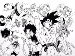 3girls 5boys abs arms_up asahina_mirai atom_(tetsuwan_atom) barbell bare_chest bishoujo_senshi_sailor_moon bottle bow boxing_gloves cat choker circlet commentary_request crayon_shin-chan crossover cure_magical cure_miracle dougi dragon_ball dragonball_z drinking elbow_gloves facial_mark frown gloves goggles greyscale grin hair_bow haramaki hat heart highres ink_(medium) izayoi_liko izayoi_riko jersey jibanyan lee_(dragon_garou) leotard long_hair mahou_girls_precure! male_swimwear mini_hat mini_witch_hat monkey_d_luffy monochrome multiple_boys multiple_crossover multiple_girls multiple_tails muscle naruto naruto_shippuuden nohara_shinnosuke notched_ear olympics one_piece open_hands open_mouth parody precure sailor_moon scar serious shoes short_shorts shorts sidelocks smile sneakers son_gokuu swim_trunks swimwear tail tetsuwan_atom traditional_media tsukino_usagi twintails two_tails uzumaki_naruto weightlifting witch_hat youkai youkai_watch