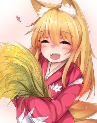 1girl animal_ears blonde_hair blush eyes_closed fox_ears fox_girl fox_tail heart highres japanese_clothes kimono long_hair multiple_tails original pink_background simple_background smile solo tail toku_0012 wheat yukata