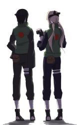 2girls bandage black_hair blonde_hair fingerless_gloves forehead_protector gloves long_hair low_twintails may_c multiple_girls naruto sandals shizune_(naruto) short_hair simple_background tsunade twintails white_background