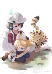 2girls absurdres all_fours animal_ears backpack bag black_gloves black_hair black_legwear blonde_hair blush boots brown_shoes bucket_hat dated elbow_gloves eyes_closed gloves hair_between_eyes hat hat_feather highres kaban_(kemono_friends) kemono_friends loafers multiple_girls neki_(wakiko) open_mouth pantyhose red_shirt serval_(kemono_friends) serval_ears serval_print serval_tail shirt shoes short_hair shorts sitting sleeveless smile tail tears twitter_username wavy_hair white_boots