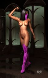 1girl abs ass black_hair boots breasts high_heel_boots high_heels legs mask mileena mortal_kombat navel nipples nude solo thigh_boots weapon yellow_eyes