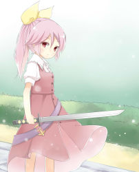 1girl belt bush ellipsis_(mitei) expressionless gradient gradient_background hair_ribbon highres lavender_hair light_particles looking_at_viewer ponytail puffy_short_sleeves puffy_sleeves red_eyes ribbon short_hair short_sleeves simple_background skirt skirt_set solo sword touhou unsheathed watatsuki_no_yorihime weapon wind