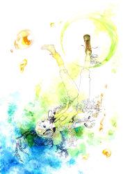 1girl alternate_costume blonde_hair blue_eyes boots bottle female flower headphones kagamine_rin shirohiko shirt short_hair solo tagme vocaloid white_skin