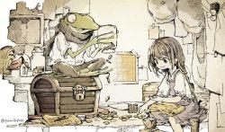 1girl child frog hat lock map money original parallela66 scarf smile spider treasure_chest twitter_username