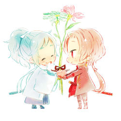 2boys ^_^ alternate_hair_color blue_hair chibi earrings eyes_closed flower hakama haori heart houhou_(black_lack) japanese_clothes jewelry kashuu_kiyomitsu katana male_focus miniboy mole mole_under_eye mole_under_mouth multiple_boys open_mouth ponytail red_eyes red_hair scarf sheath sheathed shinsengumi smile sword touken_ranbu weapon yamato-no-kami_yasusada