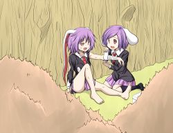 2girls animal_ears bunny_ears long_hair multiple_girls purple_hair red_eyes reisen reisen_udongein_inaba shamisen_(syami_sen) short_hair touhou