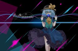 1girl aqua_eyes ascot commentary_request covered_mouth hat highres komeiji_koishi leaf1031 looking_at_viewer short_hair silver_hair solo third_eye touhou translation_request