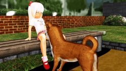 1girl 3d animated animated_gif bestiality blonde_hair copyright_request cunnilingus dog loli no_panties oral ponchi