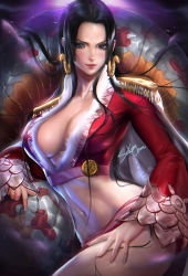1girl artist_name black_hair boa_hancock breasts cleavage dark_background earrings jewelry large_breasts long_hair looking_at_viewer midriff navel one_piece sakimichan snake solo