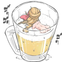 1girl alcohol alternate_hairstyle ass back beer beer_mug blonde_hair commentary_request hair_ornament hair_up ibuki_suika kureha_mitsushige minigirl nude oni_horns solo swimming touhou