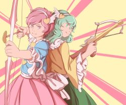 2girls arrow back-to-back blouse blue_blouse bow bow_(weapon) collar commentary cowboy_shot crossbow frilled_collar frilled_sleeves frills green_eyes green_hair green_skirt hair_ornament hairband heart-shaped_arrow heart_hair_ornament komeiji_koishi komeiji_satori looking_at_viewer mefomefo multiple_girls pink_background pink_eyes pink_hair pink_skirt short_hair siblings sisters skirt smile touhou weapon white_bow white_hairband wide_sleeves wing_hair_ornament yellow_background yellow_blouse
