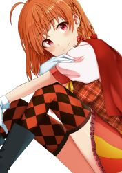 ahoge bow braid checkered checkered_legwear frilled_skirt frills from_side gloves hair_bow highres looking_at_viewer love_live! love_live!_school_idol_project love_live!_sunshine!! orange_hair plaid plaid_vest puffy_short_sleeves puffy_sleeves red_eyes short_hair short_sleeves skirt smile solo takami_chika tarachine thighhighs vest white_gloves