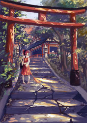 1girl broom cat dated hakurei_reimu highres japanese_clothes miko path road shrine signature solo stairs standing torii touhou tree xiaobanbei_milk