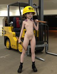 1girl 3d black_hair boots braid breasts cleft_of_venus construction_helmet flat_chest forklift hair_ornament helmet indoors loli looking_at_viewer nipples nude pussy shaved_pussy small_breasts smile solo twin_braids uncensored