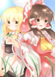 2girls :d absurdres apron ascot blonde_hair blouse blush bow brown_eyes brown_hair commentary detached_sleeves hair_bow hair_ribbon hair_tubes hakurei_reimu hat headwear_removed highres holding holding_hat kirisame_marisa large_bow long_hair looking_at_viewer multiple_girls open_mouth puffy_short_sleeves puffy_sleeves ribbon ribbon-trimmed_sleeves ribbon_trim short_sleeves side-by-side skirt skirt_set smile touhou unira vest waist_apron wavy_hair wide_sleeves witch_hat yellow_eyes