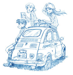 aki_(girls_und_panzer) bangs bbb_(friskuser) bubble_blowing bubblegum car commentary_request girls_und_panzer hand_on_headwear hands_in_pockets jacket kantele long_hair low_twintails map mika_(girls_und_panzer) mikko_(girls_und_panzer) monochrome motor_vehicle one_eye_closed open_mouth pants school_uniform sitting sitting_on_object track_jacket track_pants translation_request twintails vehicle wind wind_lift