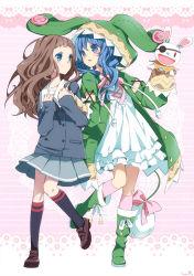 2girls blue_eyes blue_hair date_a_live multiple_girls yoshino_(date_a_live)