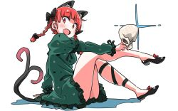 1girl :d animal_ears bangs bare_legs black_bow black_shoes blunt_bangs bow braid cat_ears cat_tail dress eyebrows_visible_through_hair fang frilled_dress frilled_sleeves frills green_dress hair_bow hair_ribbon juliet_sleeves kaenbyou_rin leg_ribbon long_sleeves looking_at_viewer multiple_tails open_mouth puffy_sleeves red_bow red_eyes red_hair ribbon shadow shoe_bow shoes sitting skull smile solo tail touhou tress_ribbon twin_braids two_tails white_background zk_(zk_gundan)