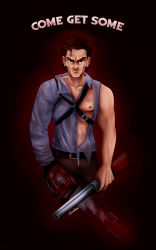 1boy ashley_j_williams brown_eyes brown_hair chainsaw english evil_dead gun highres looking_at_viewer muscle serious severed_hand severed_limb shotgun torn_clothes weapon
