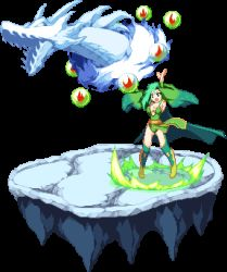 1girl boots breasts cape cleavage detached_sleeves final_fantasy final_fantasy_iv green_hair large_breasts long_hair lowres mist_dragon pixel_art rydia solo summoning thighhighs transparent_background warabin_(suteki_denpun)
