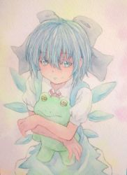 1girl acrylic_paint_(medium) blue_hair bow cirno dress frog graphite_(medium) hair_bow highres holding hug ice ice_wings looking_at_viewer looking_up neck_ribbon ribbon sad short_hair solo stuffed_animal stuffed_toy tearing_up tears touhou traditional_media watercolor_(medium) wings yuyu_(00365676)