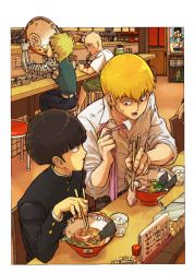 4boys bald bangs black_hair blonde_hair character_print chopsticks creator_connection crossover cyborg eating food fubuki_(one-punch_man) gakuran genos glass kageyama_shigeo kirin_(giraffe69) looking_at_another loose_necktie male_focus mob_psycho_100 multiple_boys necktie noodles one-punch_man pink_necktie poster poster_(object) ramen reigen_arataka restaurant saitama_(one-punch_man) sakuran0206 school_uniform stool sweat tatsumaki